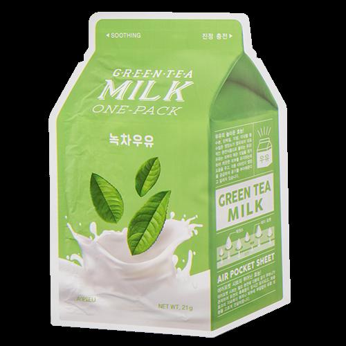 Заспокійлива тканинна маска A`PIEU Green Tea Milk One-Pack Soothing